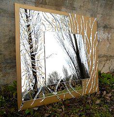 Specchio decorativo in mosaico e pittura su vetro specchio quadrato mosaico pittura pinterest - Specchio mosaico vetro ...