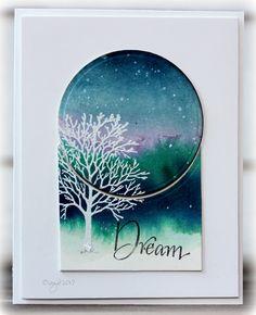 handmade greetind card from Rapport från ett skrivbord .. nighttime scene on a split panel ... luv how she die cut a circle to make the panel separation ... white embossed leafless tree ... dream ...