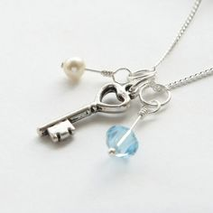 18th or 21st Key Necklace Birthstone by WillowbrookArtistry
