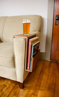 Custom Couch Arm Table with Magazine/Book Pocket