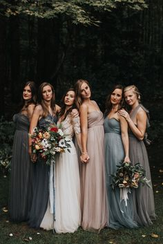 Moody bridesmaid photos with mismatched dresses. moody bridesmaid photos with mismatched dresses. Bridesmaid Dresses Under 100, Mismatched Bridesmaid Dresses, Brides And Bridesmaids, Charcoal Bridesmaid Dresses, Bride And Bridesmaid Pictures, Beige Bridesmaids, Bridesmaid Poses, Wedding Dresses, Wedding Picture Poses