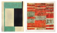 Left: Mark Wethli 23 Minutes in Brussels 2014 Flashé acrylic on woven Jaipur paper 16 x 12 inches Right: Jean-Luc Le Balp Kelem 2009 Color etching 19.75 x 19.75 inches ed. 14 of 30