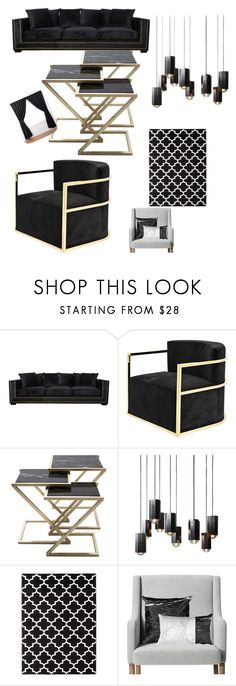 """Black Living room😍"" by queenmimi123 ❤ liked on Polyvore featuring interior, interiors, interior design, home, home decor, interior decorating, Eichholtz, Threshold, ExceptionalSheets and living room"