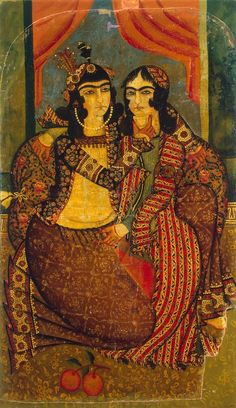 Amorous Couple  Painting, Oil on canvas, Iran, Early 19th century, Qajar Dynasty