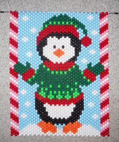 Handmade Hand Beaded Christmas Penguin Beaded Banner by wosiec1