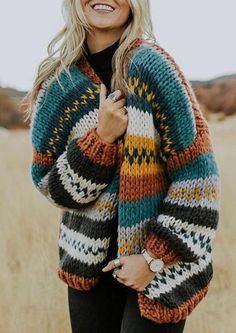This summer, spruce up your wardrobe with a cardigan. While women's cardigans can be worn anytime of the year, they … Chunky Knit Cardigan, Striped Cardigan, Loose Sweater, Sweater Cardigan, Men Sweater, Best Plus Size Jeans, Bikinis Crochet, Hippie Dresses, Casual Tops For Women