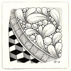 BEEZ in the Belfry: Zentangle tile by Sandy Steen Bartholomew,  I be this would look cool in PC!