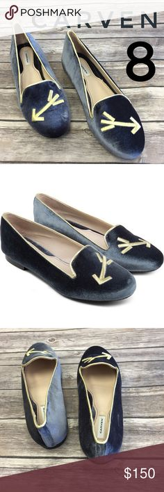 CARVEN Anthracite Sleepers Mousta Velvet Flats 100% cotton velvet slippers with arrow embroidery. Color is called anthracite. New, unworn Carven Shoes Flats & Loafers