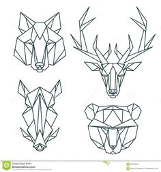 Photo about African animal icons, vector icon set. Abstract triangular style. Vector illustration - 58722430