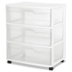 Sterilite 3 Drawer Wide Cart, White - Walmart.com
