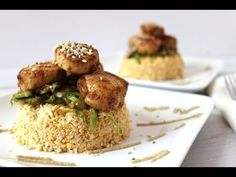 Low carb BBQ Scallops with raw cauliflower rice. Dinner for two. Gluten and grain free. - YouTube