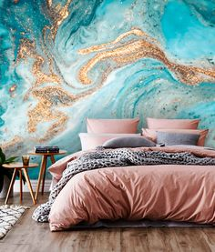 The dried flowers for a poetic decoration - My Romodel Vinyl Wallpaper, Gold Wallpaper, Gold Turquoise Wallpaper, Gold Bedroom, Bedroom Decor, Decoration Inspiration, Blue Walls, My Room, Your Space