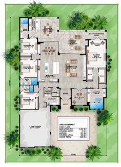 Florida Mediterranean House Plan 75975 Level One