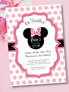 Minnie Mouse Birthday Invitations, Turning One, First Birthdays, Rsvp, Household, Party Ideas, Handmade Gifts, Etsy, Kid Craft Gifts