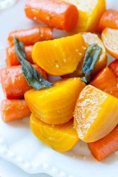 Easy roasted yellow beets and carrots recipe with sage, garlic and rosemary that's finished with a secret ingredient to make them really pop. Roasted Beets And Carrots, Oven Roasted Beets, Roasting Beets In Oven, Vegetable Side Dishes, Vegetable Recipes, Vegetarian Recipes, Cooking Recipes, Amigurumi, Salad