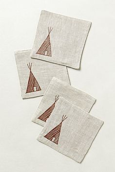 Linen Tee-Pee Coasters #anthropologie