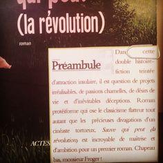 Sauve qui peut (la révolution) de Thierry Froger Actes Sud Editions Coup de cœur de la librairie Préambule à Bayeux @librairiepreambule  #book #livre #lespetitsmotsdeslibraires