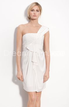 Charming A-Line One-Shoulder Mini-Length Pleats Wedding Dresses