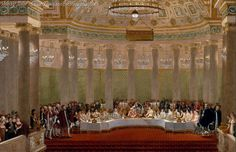 Wedding Banquet of Napoleon and Marie-Louise in the Grand Salon of the Tuileries Palace, 2 April 1810 by Alexandre Benoit Jean Dufay, Casanova.j