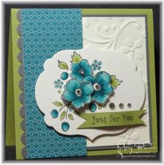 Great color combo.  I really like the gray which grounds everything.  Stamp Set: Bordering on Romance