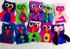 Felt Finger Puppet Party Kit - Owls - by LittleFingersAndMore, $12.99  Birthday Party Favor, Preschool Arts & Crafts, Pretend Play, Goodie Bag, Play Date