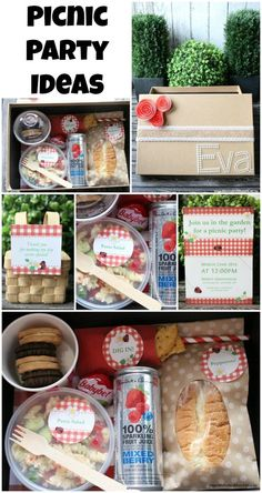 Picnic Party Ideas - a cute boxed lunch idea that could be modified for all ages! A fun idea for a bridal shower or birthday party!
