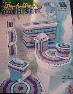 I don't know...this may be too much of a good thing...crochet bathroom set