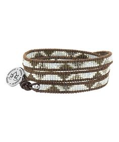 Love this Black & Brown Geometric Japanese Seed Bead Leather Wrap Bracelet on #zulily! #zulilyfinds