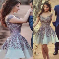 New Arrival Short Prom/Homecoming Dress - Off Shoulder with Purple  Embroidery