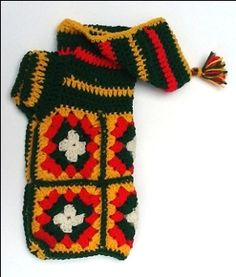 Granny Square Hooded Tassled Dog Sweater