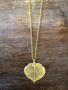 """Gold plated leaf on lightweight gold chain 28"""" with 3"""" extender. www.doxahlogy.com #wearUniquely #gold #necklace #simple"""