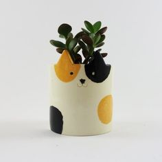 Calico Cat Ceramic Planter Cat Pot Sculpture by MinkyMooCeramics