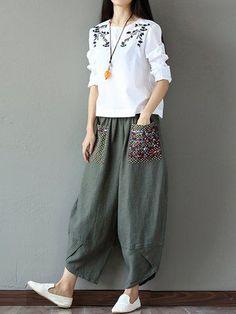 528d46106c Woman Pants Summer Cotton Linen Loose Trousers Women Wide Leg Pants Elastic  Waist Vintage Womens Casual Loose Harem Pants Measure size in cm size(cm)  waist ...