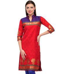 Buy Red & blue jacquard embroidered kurti short-kurti online