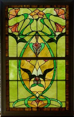 "Antique American Art NouveauDouble Hung Stained Glass Window Set 27.75"" x 44.25""  fid5155a"
