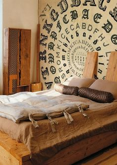 Amazing wallpaper and a great alternative to a headboard  By http://www.wallanddeco.com