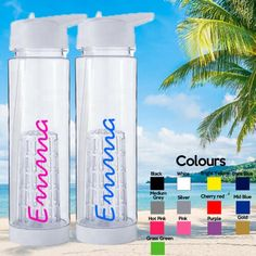 Water Bottle School Gym Two Personalised  Vinyl Stickers Love this island