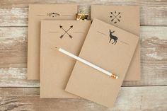Note Pad Kraft Paper Holiday Gift Stationery by GraphixLLC on Etsy