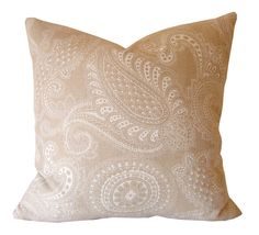 "Sunset Beach Pillow Cover / 20"" x 20"" / Tan/White / Designer Pillow Cover / Decorative Pillow"