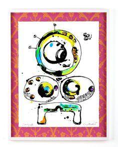 SOMLIGA 2 Bläck, akvarell och pastell på papper och tapet Cajsa Fredlund, cajfre@gmail.com