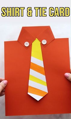 Get the free tie template to make this cute Shirt & Tie card for Dad! Perfect Father's Day Card kids can make. Father's Day Craft for Kids, Father's Day Craft for Preschoolers, Tie template. by janis Easy Kids Crafts Tutorial, Easy Paper Crafts, Paper Shi Toddler Crafts, Preschool Crafts, Fun Crafts, Crafts For Kids, Arts And Crafts, Kids Diy, Decor Crafts, Paper Crafts Kids, Crafts To Make