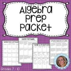 This versatile resource can be used in a variety of different ways. Algebra teachers can use it as a summer assignment for students who will be entering their class in the fall. 8th grade or Pre Algebra teachers can use it as an end of the year skills review.   Included are 34 different pages of questions on 20 different topics.