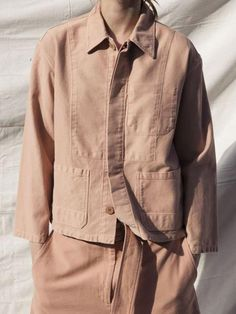 The Krasner Jacket in pre-dyed peach cotton twill is a workwear inspired jacket with a relaxed, boxy fit. Love Fashion, Fashion Outfits, Fashion Design, Womens Fashion, Cool Style, My Style, Spring Summer Fashion, Editorial Fashion, Work Wear