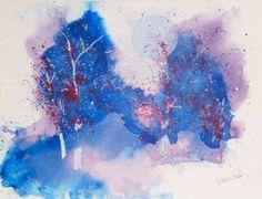 Full Moon Art;  Original Artwork; First Snow Original Watercolor; Sign