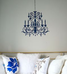 Stenciling the chandelier wall stencil in blue httpwww teen girl bedroom in gray and aqua mozeypictures Images