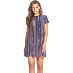 BCBGeneration Stripe Jersey T-Shirt Dress (47 CHF) ❤ liked on Polyvore featuring dresses, deep blue multi, stripe dress, tee shirt dress, slimming dresses, bcbgeneration dress and striped t shirt dress