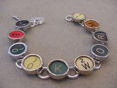 Typewriter key jewelry Bracelet  Spells BOOKWORM  by magiccloset