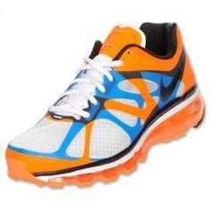 Nike Air Max 2012 Mens Running Shoes White/Black/Bright Mango/Bright Blue