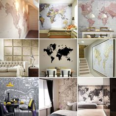 diy mappemonde murale peindre une carte du monde sur son mur world map on the wall www. Black Bedroom Furniture Sets. Home Design Ideas
