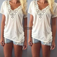 Oversized Women Short Sleeve Lace Tops Blouse V Neck Summer Casual Shirt Tee New